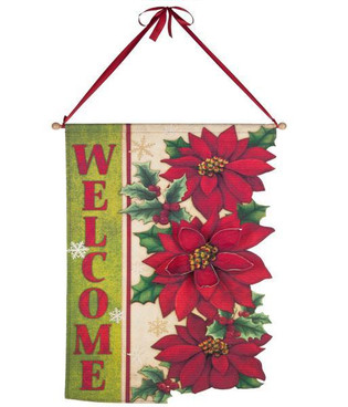 Welcome Poinsettia Door Banner