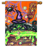 Toland Haloween witch garden flag