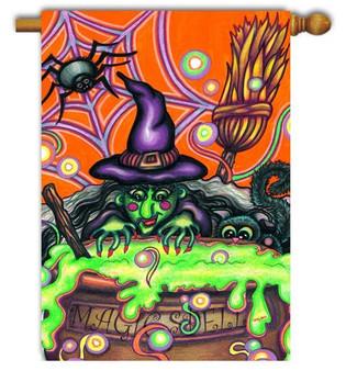 Toland Haloween witch garden flag