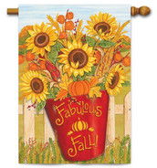 Lovely fall sunflowers house flag