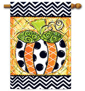 "Patterned Pumpkin House  Flag - 28"" x 40"""