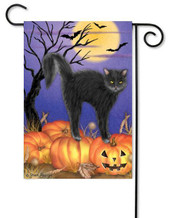 Halloween black cat garden flag