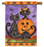 Halloween black cats house flag