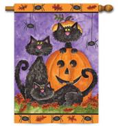Halloween black cats house flag