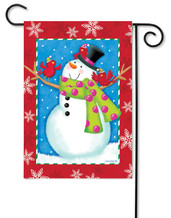 Snowman winter garden flag