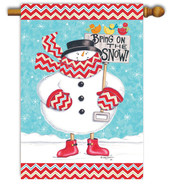 Snowman winter house flag