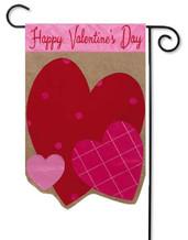Burlap Valentine's Day garden flag