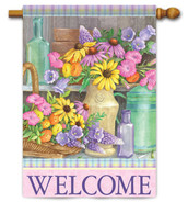 "Garden Bench House Flag - 28"" x 40"" - 2 Sided Message"