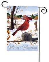 Red cardinal garden flag