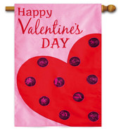 Applique Valentine's Day House Flag