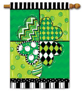 "Clover Patchwork House Flag - 28"" x 40"""