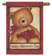 Custom Décor Valentine Bear House Flag