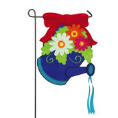 "Red Bow Watering Can Applique Garden Flag - 12.5"" x 18"""