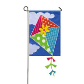 Evergreen applique garden flag