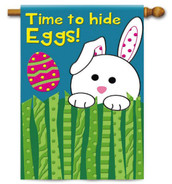 Evergreen applique Easter house flag