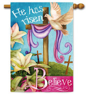 Religious Easter house flag by Evergreen