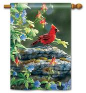 "Cardinal Perch House Flag - 28"" x 40"""