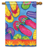 "Flip Flop Fun Summer House Flag - 28"" x 40"""