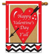 Deluxe Applique Valentine House Flag