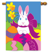 Deluxe Applique Easter House Flag