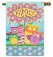 Owl family house flag
