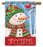 Snowman Greetings decorative house flag by Flag Trends
