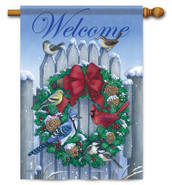Decorative outdoor winter house flag