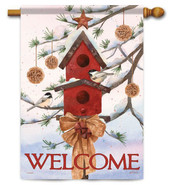 Welcome outdoor house flag by Flag Trends