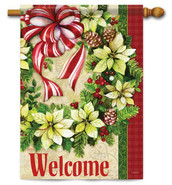 White Poinsettia Wreath House Flag - Flag Trends