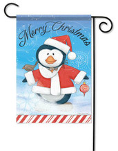 Christmas penguin garden flag by Flag Trends
