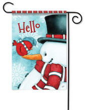 Decorative Hello Snowman Garden Flag by Flag Trends