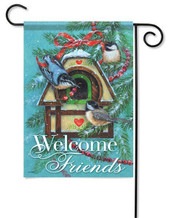 Winter Birdhouse Decorative Outdoor Garden Flag