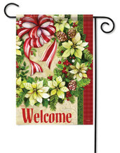 Christmas Garden Flag - White Poinsettia Wreath