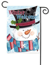 Winter snowman outdoor garden flag