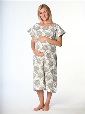 Clara Breastfeeding-Friendly Non-Organic Hospital Gown- Front