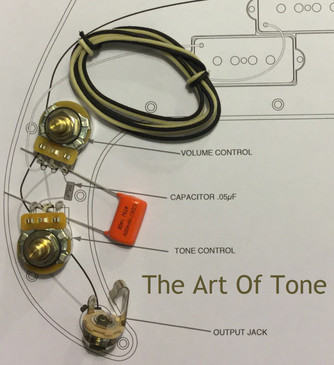 Wiring Kit - Fender Precision Bass (P-Bass) - .047uf Orange Drop Cap, CTS 450G 250K Solid Shaft Pots