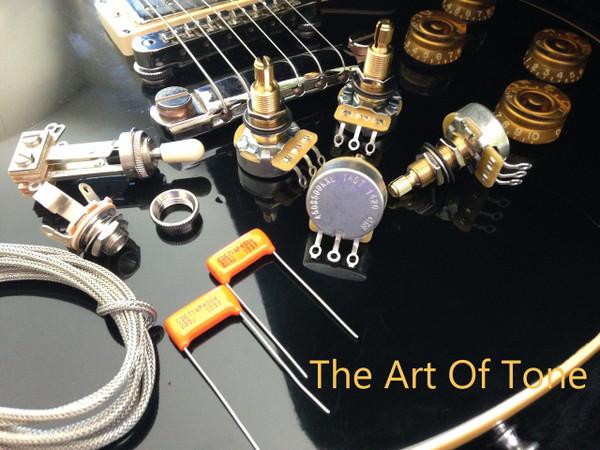 "TAOT Les Paul Wiring Kit - Long Shaft (3/4"" bushing) -- Orange Drop Capacitors The Art Of Tone"