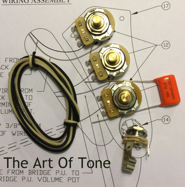 Wiring Kit - Fender Jazz Bass®  - CTS 250K 450G Solid Shaft Pots - .047uf Orange Drop Cap