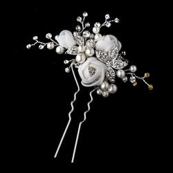 Organza Rose Bridal Hair Pin