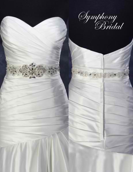 Symphony Bridal Belt Style BLT80 - Rhinestone Beaded Satin Belt
