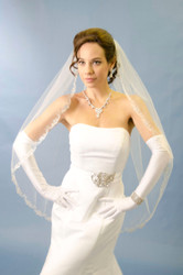 Ansonia Bridal Veil Style 197S - Scallop Edge