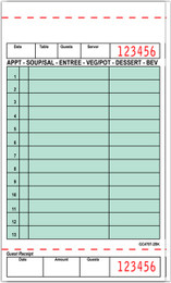 """Guest Check Board Paper, GC4797-2BK, Carbonless, 2 Part Booked, Packed 40/50, 13 Lines, Green, 4.2"""" x 7.25"""""""