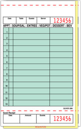 """Guest Check Board Paper, GC4797-3L, Carbonless, 3 Part Loose, Packed 2000, 13 Lines, Green, 4.2"""" x 7.25"""""""
