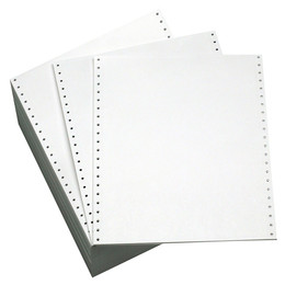 "9 1/2"" x 11"" 20# Blank 3 Hole Punch Left Clean Edge Perf, Continuous Computer Paper, 2700 sheets, 9711"