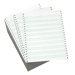 "9 1/2"" x 11"" 20# 1/2"" Green Bar, Standard Perf, Continuous Computer Paper, 2700 sheets, 8225"