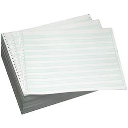 "14 7/8"" X 8 1/2"" 15# 1/2"" Green Bar, 3-Part Carbon Interleaf, Continuous Computer Paper, 1100/3300 sheets, 9306"