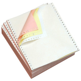 "9 1/2"" x 11"" 15# Blank Regular Perforation, 3-Part Carbonless, Continuous Computer Paper, 1200/3600 sheets, 91193"