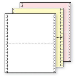 "9 1/2"" x 5 1/2"" 15# Blank Regular Perf, 3-Part Carbonless, Continuous Computer Paper, 2100/6300 sheets, 81203"
