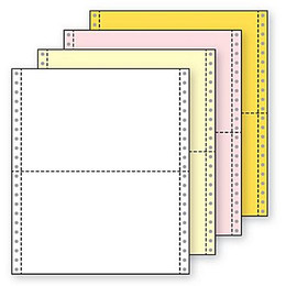 "9 1/2"" x 5 1/2"" 15# Blank Regular Perf, 4-Part Carbonless, Continuous Computer Paper, 1600/6400 sheets, 9722"