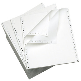 "9 1/2"" x 11"" 15# Blank Regular Perforation, 3-Part Carbonless, Continuous Computer Paper, 1200/3600 sheets, 9762"